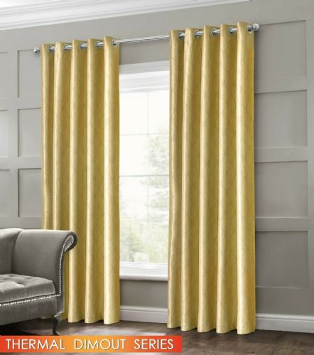 GEOMETRIC WAVE EMBOSSED LIVINGROOM BEDROOM THERMAL BLACKOUT RING TOP CURTAINS OCHRE
